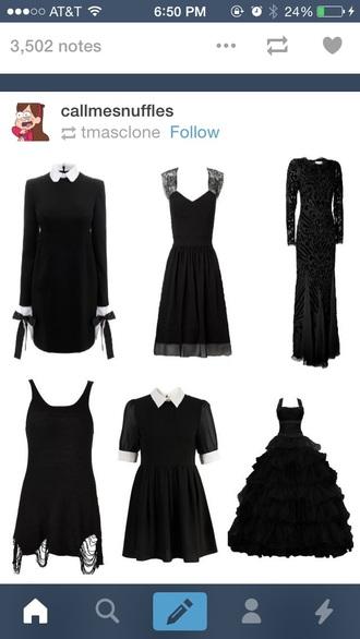 dress long sleeve dress black dress gothic dress white collar collared dress gothic lolita