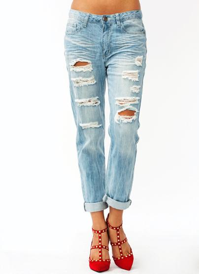 Distressed Boyfriend Jeans $42.90 in LTBLUE - New Bottoms | GoJane.com