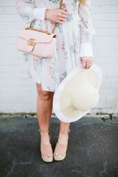 bohostylefile,blogger,dress,bag,shoes,hat,gucci bag,pink bag,sandals