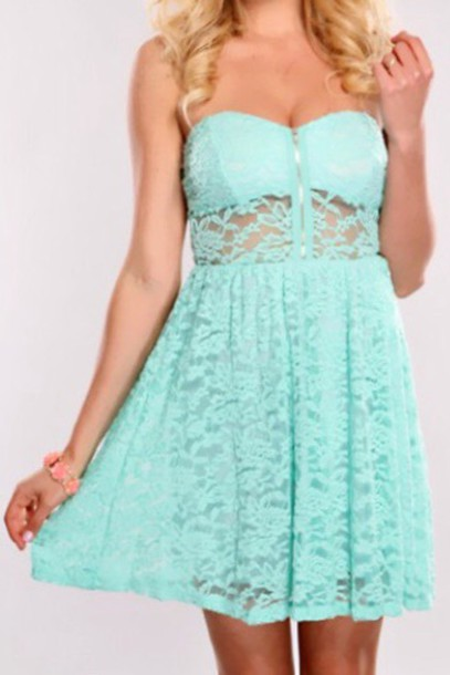 dress light blue lace sleeveless dress .