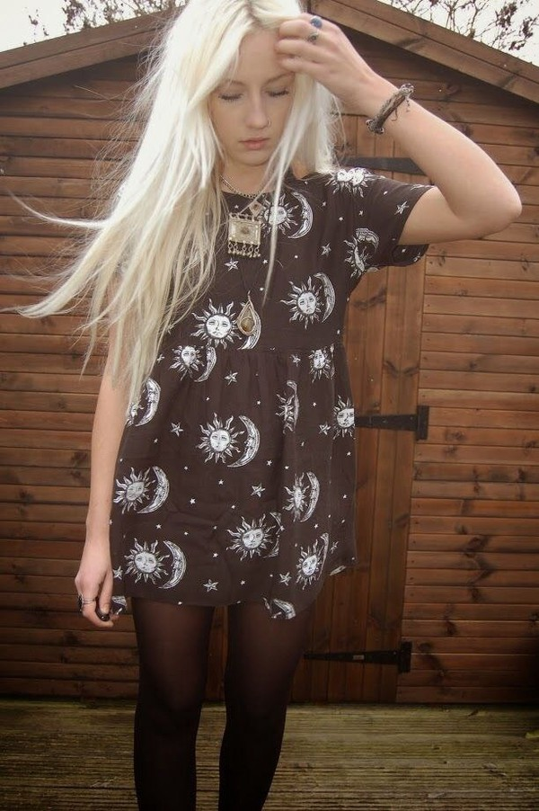 dress shirt blouse moon sun little black dress galaxy dress grunge