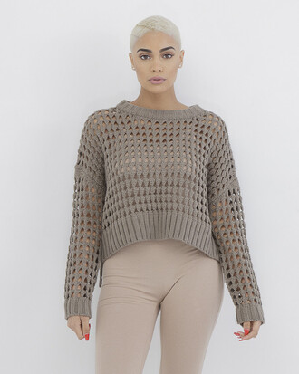 sweater taupe taupe sweater knitted sweater