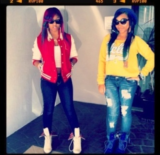 shirt ucla ucla bruins shades red yellow blue chargers omg omg girlz zonnique pullins stars bahja cocaine white football college dope boots docmartens jacket jeans shoes steal her style we love you bahja