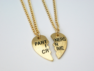 jewels heart necklace love best friends partners in crime chain gold bff