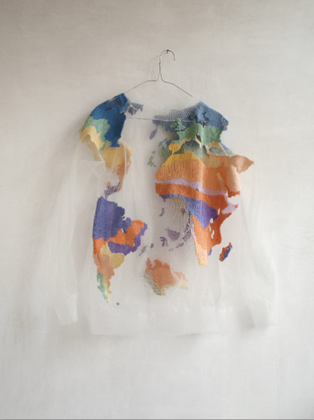 Sweater Clothes Colorful Science See Through Map Print Travel