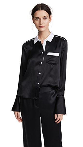 shirt button down shirt black top