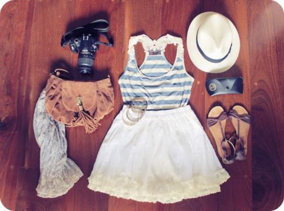 skirt striped shirt white skirts dress beautiful summer hat shoes sandals bag bracelet bracelets scarf outfit