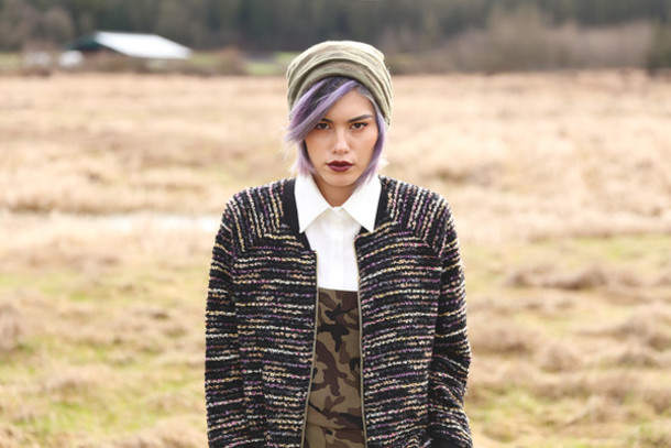 xander vintage blogger jacket blouse tweed camouflage