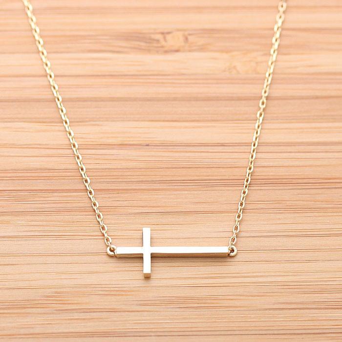 Sideways cross necklace, 2 colors