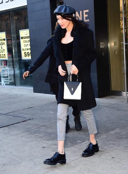 lefashion blogger top coat pants grey pants beret crop tops navy coat hat