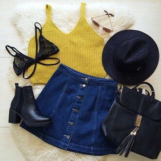 tank top crop tops knit tank top bra black bralette lace bralette lace bra denim denim skirt black booties booties hat sunglasses backpack skirt underwear shoes bag back to school