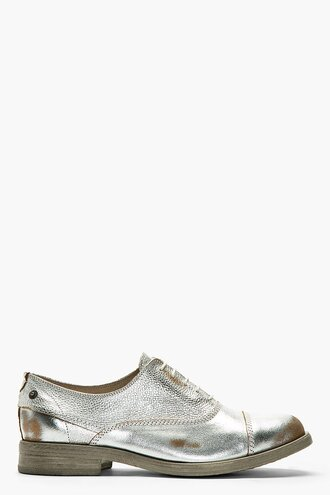 brogues leather shoes silver menswear casual shoes wording austerity