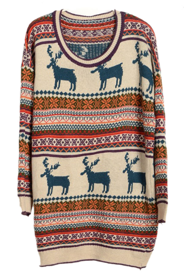 Womens Reindeer Striped Red Tacky Long Christmas Sweater Dress