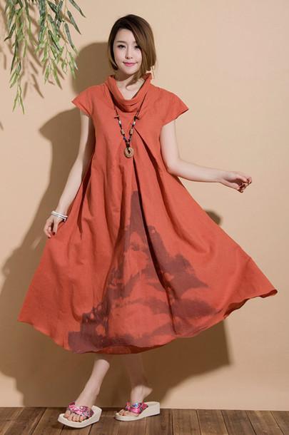 dress maxi dress orange dress linen dress