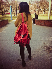 red,leather,backpack,bag