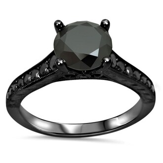 jewels black ring black diamond ring engagement ring 1.10ct black round cut diamond engagement ring in black gold plated silver round cut black diamond ring evolees.com