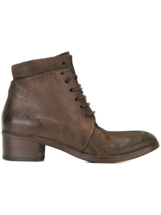 boots ankle boots lace brown shoes