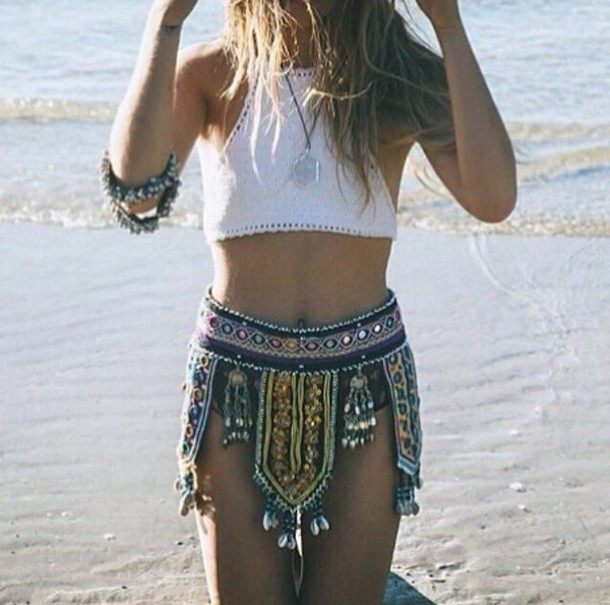 skirt top short jewelry necklace cuff ring colorful belt shorts boho patterns shorts
