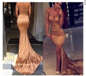 dress,prom,summer,gorgeous dress,prom beauty,wonderful prom dress,gown,bronze,gold dress,long train dress,off the shoulder dress,nude,luxury,silk dress,satin dress,bronze dress