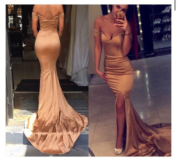 dress prom summer gorgeous dress prom beauty wonderful prom dress gown bronze gold dress long train dress off the shoulder dress nude luxury silk dress satin dress bronze dress