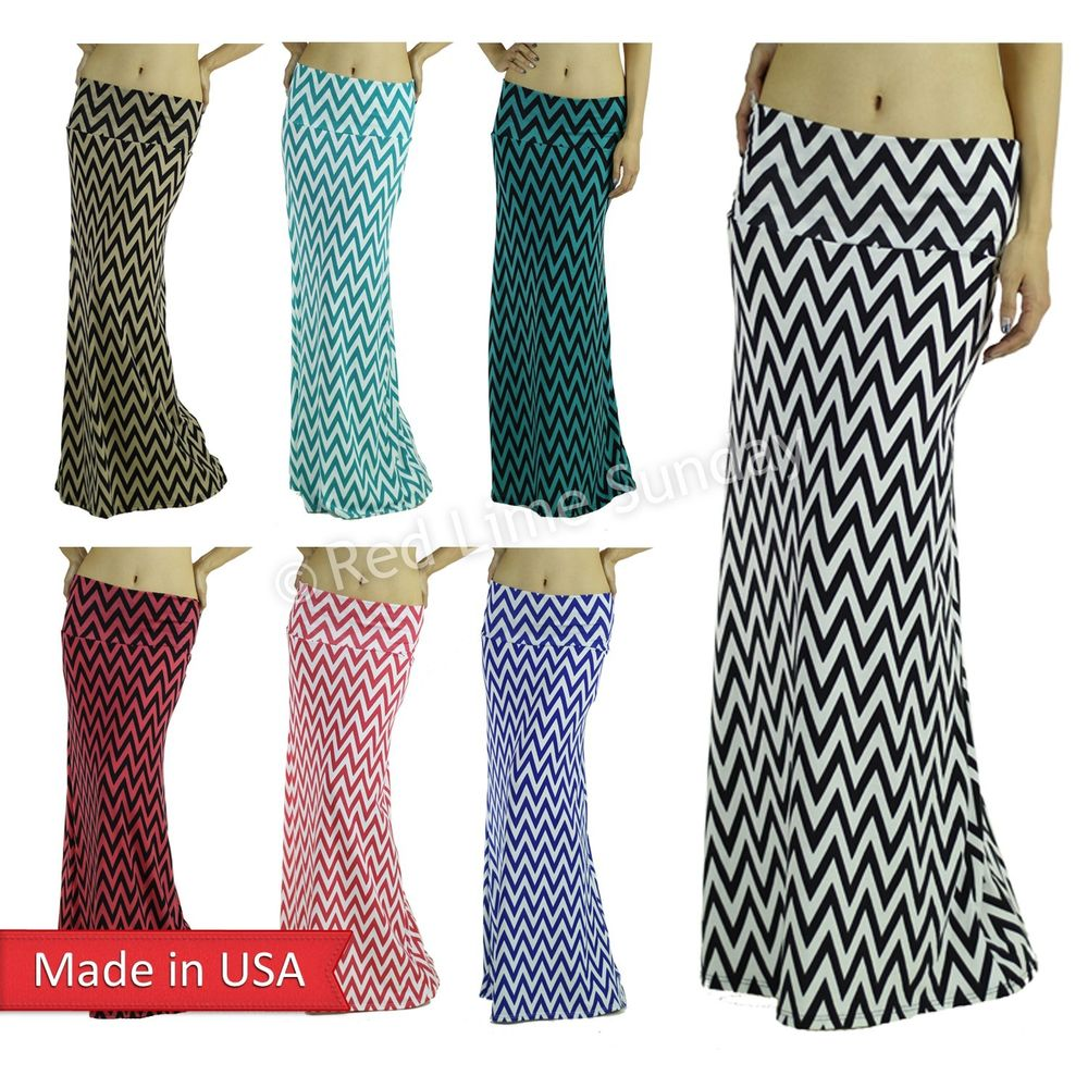 Slim Chevron Zigzag Stripe Soft Comfy Color Fold Over Floor Long Maxi Skirt USA