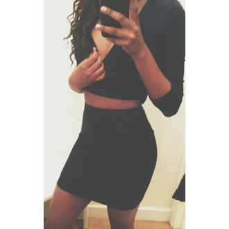 dress two-piece skirt crop tops tumblr outfit