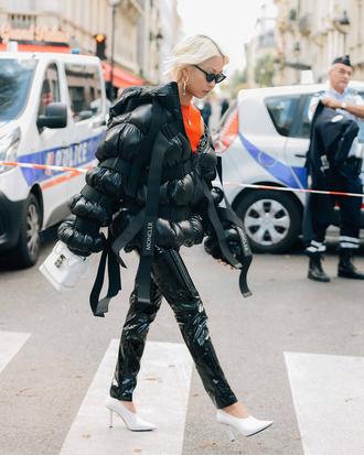 pants tumblr black pants vinyl black vinyl pants jacket black jacket puffer jacket shoes white shoes high heels heels streetstyle sunglasses bag white bag