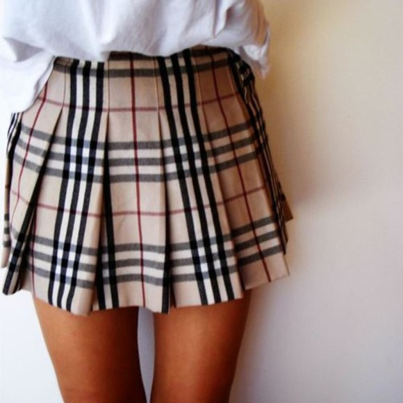 skirt tartan tartan skirt beige high waist skirt 90's