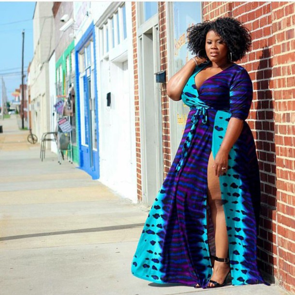 Dress: curvy, plus size, summer, beach dress, women, purple, teal ...