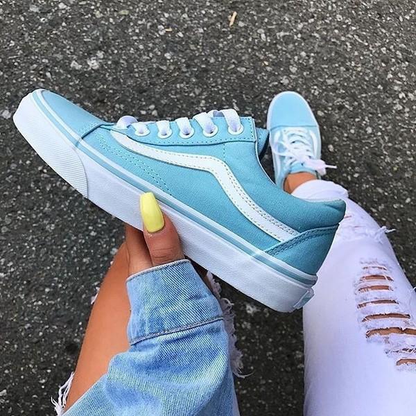 Vans Old Skool Crystal Blue   White Canvas Shoes  db400f41d02b