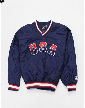 jacket dope starter usa flag red white and blue vintage sportswear