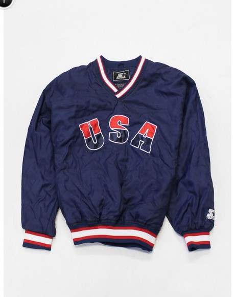 red white and blue jacket starter usa flag vintage dope sports top