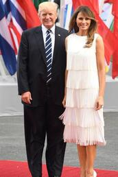 dress,first lady outfits,midi dress,fringes,fringed dress,melania trump