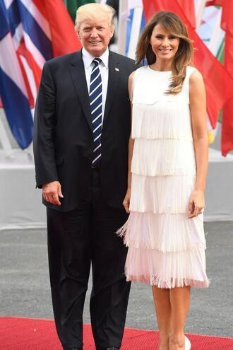 dress first lady outfits midi dress fringes fringed dress melania trump
