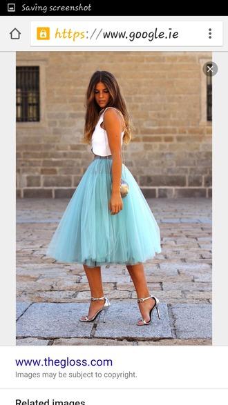 skirt tulle skirt turquoise layered