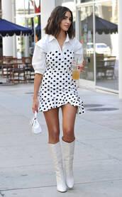 dress,polka dots,white,white top,white dress,boots,olivia culpo,streetstyle,shoes