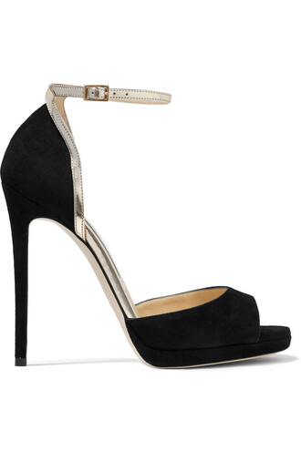 metallic pearl sandals leather suede black shoes