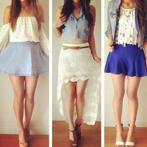 blouse top skirt jacket denim skater skirt lace top white shirt outfit