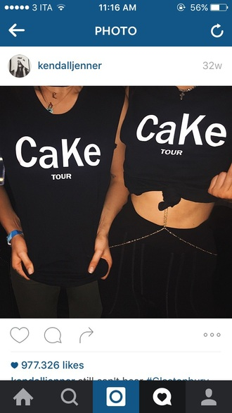 shirt cake kendall jenner cara delevingne black top graphic tee quote on it black pants crop tops body chain