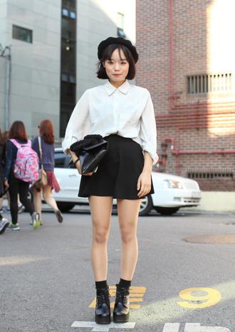 hat white shirt black pleated skirt black boots black beret blogger