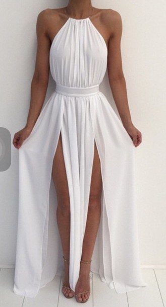 494f0adc2449 dress long dress white dress maxi dress slit dress white high neck double  slit dress white