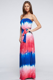 dress,betsy boo's boutique,maxi dress,strapless,tie dye,paisley,red white and blue,july 4th,patriotic dress