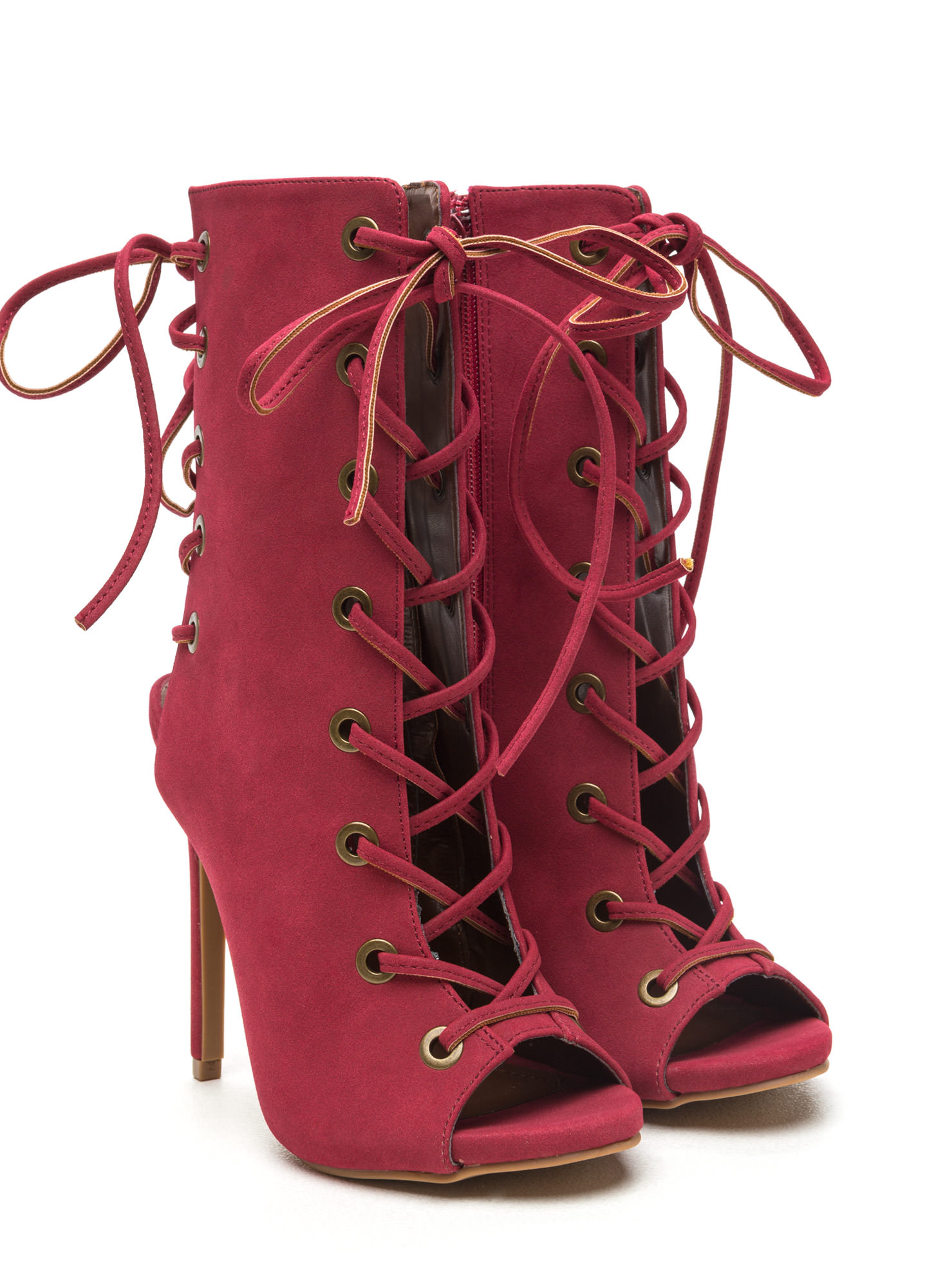 Back lace up boots - Front And Back Lace Up Booties Black Wine Chestnut Gojane Com