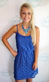 dress,blue,royal blue,lace dress
