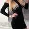 Turtle neck off shoulder bodycon dress