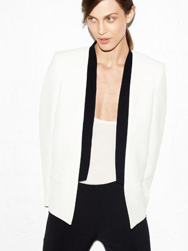 Suit Collar Long Sleeve Plain Sheath Blazer : KissChic.com