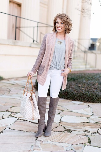 something delightful blogger sweater t-shirt jeans shoes jewels boots white pants louis vuitton bag winter outfits