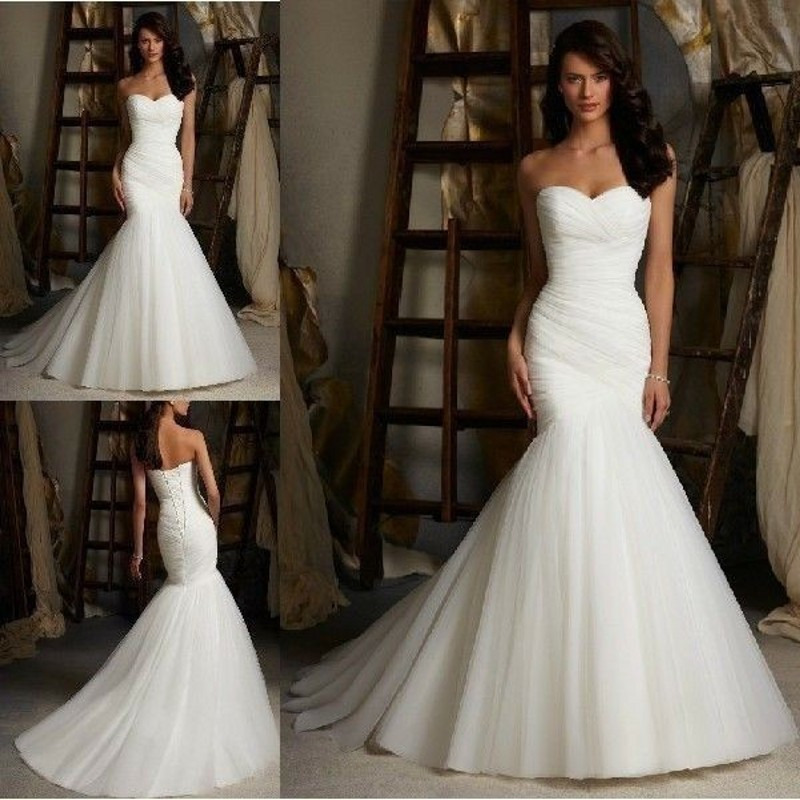 Buy strapless sweetheart ruched bodice for Aliexpress mermaid wedding dresses