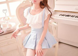blouse white lace layerd light blue dress baby blue pastel cute sweet japanese korean fashion kstyle girly playful dreamy nice lovely korean style