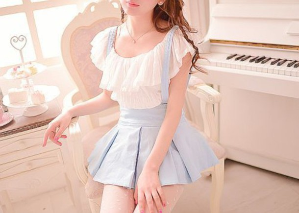 89acdd2d08430e blouse white lace layerd light blue dress baby blue pastel cute sweet  japanese korean fashion kstyle